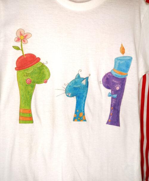 camiseta manga corta blanca infantil original divertida teatro titeres