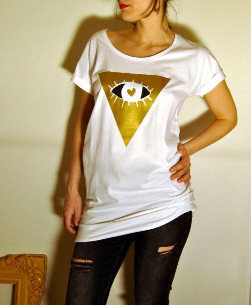 tunica vestido camiseta larga mujer blanca manga corta disenos originales diferentes rebajas ulitmas tallas dorado gold ojo ver con el corazon