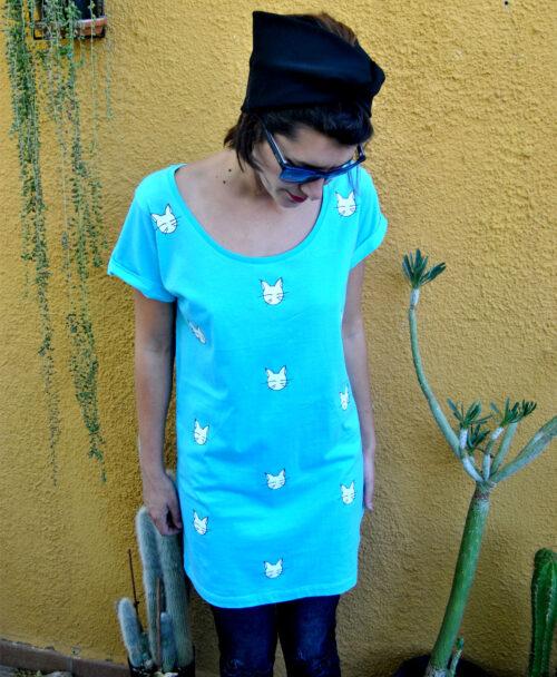 tunica mujer vestido azul manga corta diseno gatos rebajas ultimas tallas