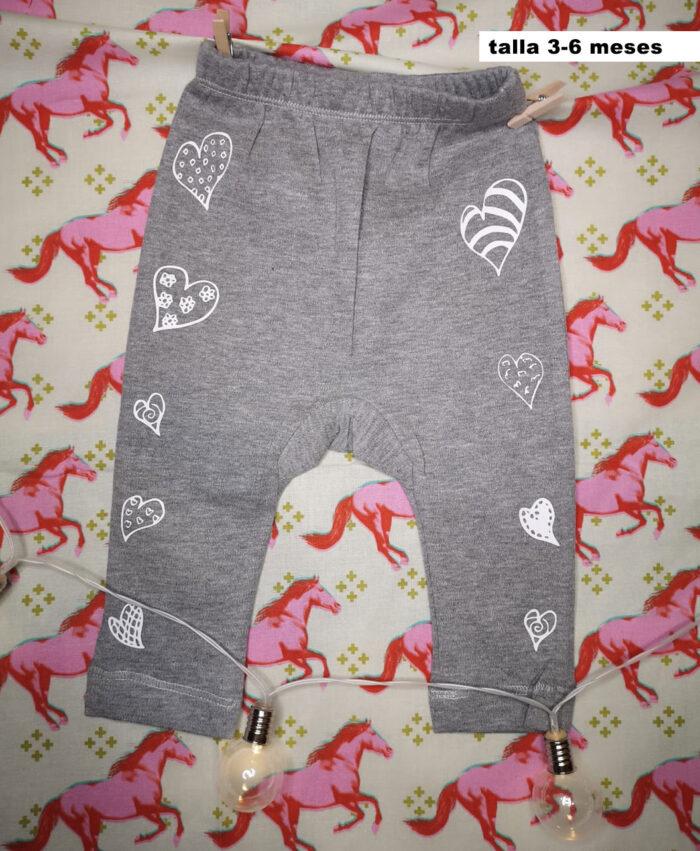 baby legins pantalon elastico bebe gris algodon organico diseno corazones