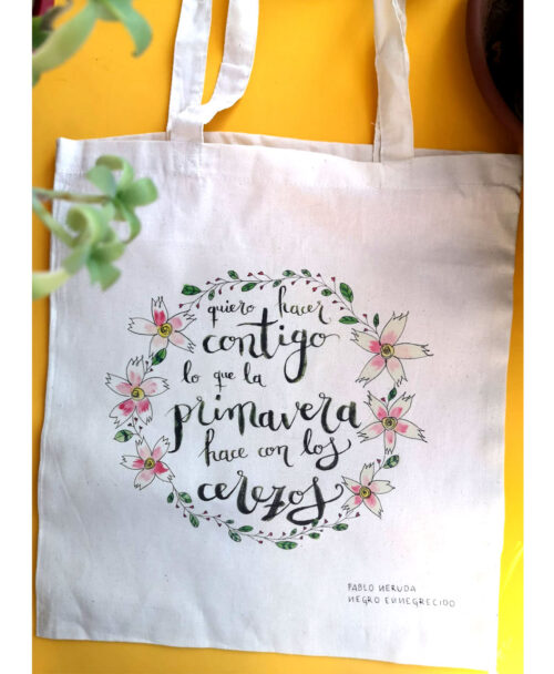 tote bag bolsa tela color crema poema neruda primavera flores cerezo