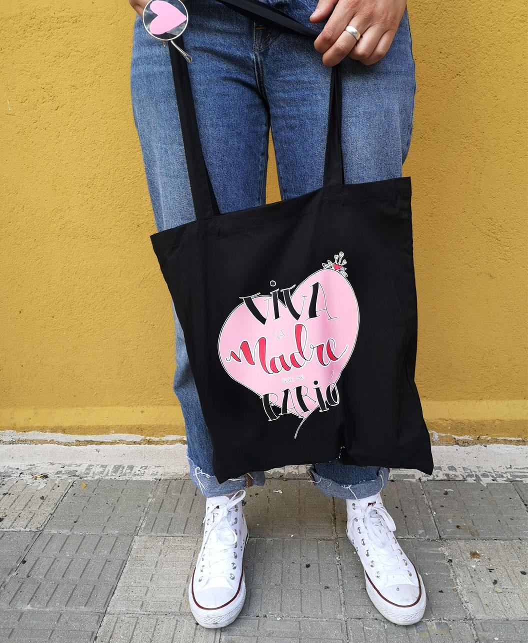 tote bag negro ilustracion frase regalo especial dia de la madre