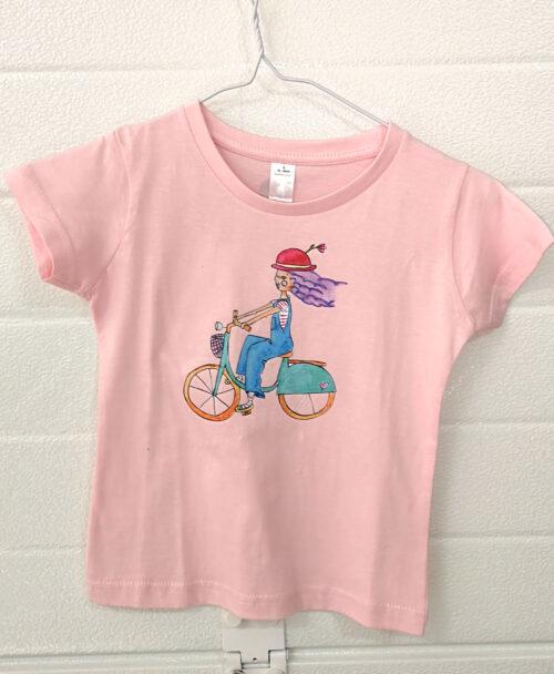 camiseta rosita manga corta pink moda infantil original divertida ilustracion dibujo bici