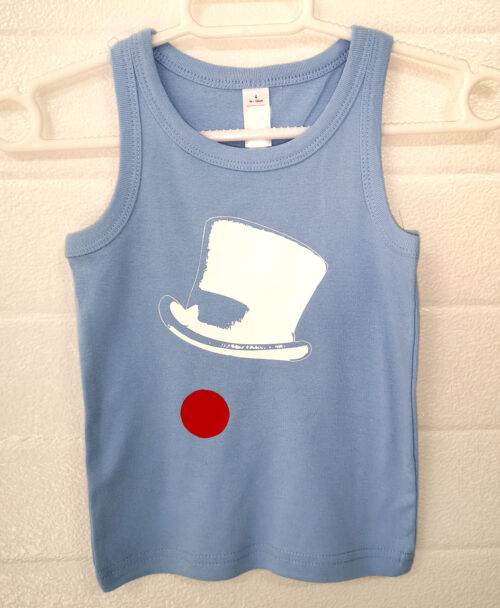 camiseta tirantes azul claro moda alternativa infantill original diferente rebajas viva circo payaso sombrero