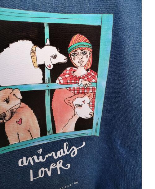 mochila denim tejido vaquero algodon original diferente divertida ilustracion animales y lettering ideal regalo animals lover