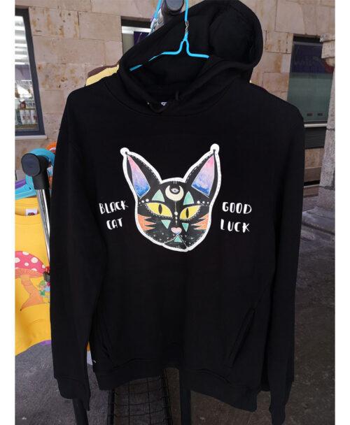 sudadera capucha bolsillos unisex algodon organico negra moda alternativa ilustraciones diferentes divertidos black cat good luck gato negro magia