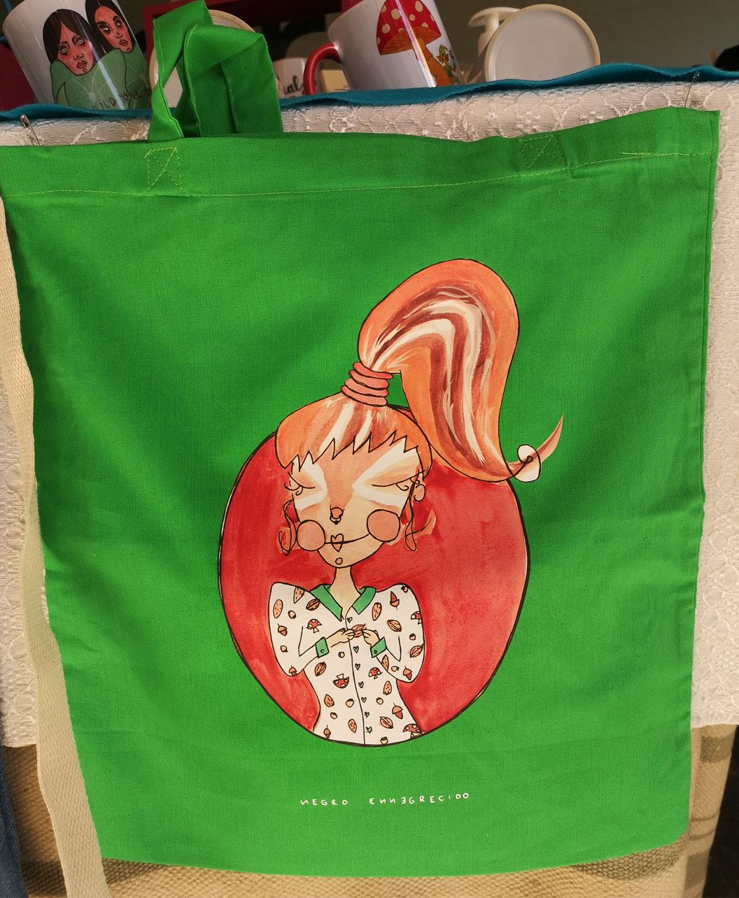 tote bag verde bolsa de tela alegre colorido original ideal regalo ardilla otono